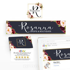 Ebay Store Branding Kit | Business Logo Ebay Store Banner | Marsala Flowers