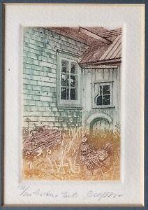 Vintage Signed Limited Edition Aquatint Etching Farm France - Frame 8x10