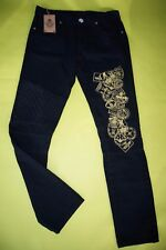 Black Moto Jeans 34 x 35 DNM 3014 Skinny Street Gold Military Patch NEW $70