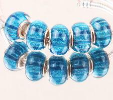 5pcs SILVER MURANO bead LAMMWORK fit EuroMean Charm Bracelet A#55