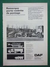 1970'S PUB DAF EINDHOVEN REMORQUE PORTE-VEDETTE DE PONTAGE YVW 1414 B FRENCH AD