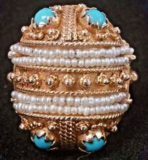 14K Gold ISJC Replica India Dowry Ring Size 4.5 Seed Pearls Turquoise 50s Prong