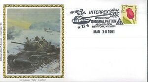 1991 New York City WWII INTERPEX General Patton Silk Cachet First Day Cover Set