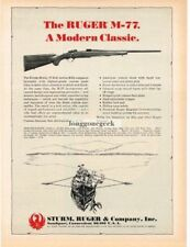 1969 Sturm Ruger M-77 Rifle Line Drawing Hunter returning with kill Vtg Print Ad