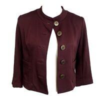 Anthropologie Cartonnier Burgundy Button Up Pockets Crop Jacket Blazer Womens S