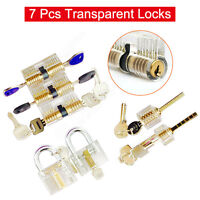 7 Pcs Transparent Clear Locks Padlock Cutaway Door Lock Kit Professional Set