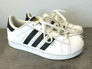 Adidas Originals Superstar Kids Size 13K Casual Shoes Leather Sneakers White/Blk