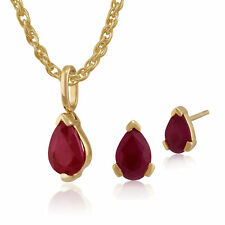Gemondo 9ct Yellow Gold Genuine Ruby Pear Shaped Stud Earring & Necklace Set