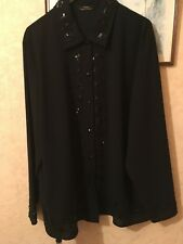 Vintage St Michael ladies black detailed blouse size 20