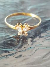 White Sapphire Round Cut Butterfly Ring 10kt Solid Yellow Gold