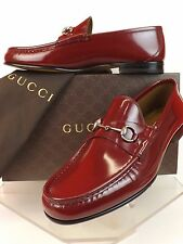 NIB GUCCI STRONG RED LUX LEATHER 1953 SILVER HORSEBIT LOAFERS 8 9 #387598