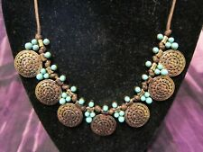 """DUNE & WILLOW Ethnic-Style Dot Disc Statement Corded Adjustable Necklace 26"""""""