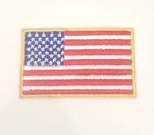 NEW USA US AMERICAN FLAG embroidered iron on patch BADGE with gold trim