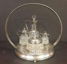 Unusual Antique Cruet Castor Set Heavy Cut Glass Silverplate Petite