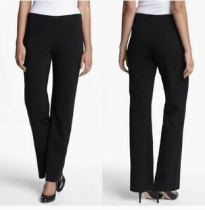 """Eileen Fisher Black Ponte Knit Pant L Large 31"""" Inseam Pull On Elastic Waist"""