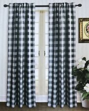 "Buffalo Plaid Check Window Panels Curtains Pair 63"" Long Black Gray White"