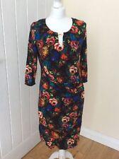 BNWOT 'DOROTHY PERKINGS Black Floral Drape Jersey Dress Size 12
