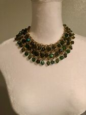 DE MARIO Vintage Gold Tone and Green Beaded  Cleopatra Necklace