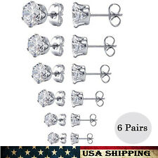Zirconia Stud Earrings (6 Pairs) Women's Stainless Steel Round Clear Cubic