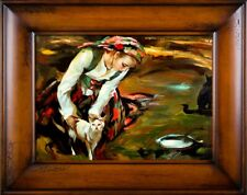 Russian Farmer's Wife Field with Cat Handmade Frame Oil Painting Picture G16944