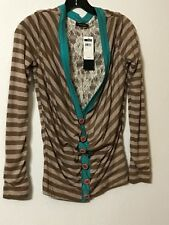 Emphasis Brand Top Size Large NWT Button Front Lace Lining Brown Toast  Blue