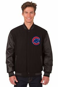 MLB Chicago Cubs Wool & Leather Reversible Jacket with Embroidered Logos Black