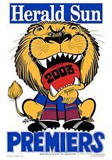 "AFL BRISBANE LIONS HERALD SUN WEG 2003 PREMIERS POSTER ""BRAND NEW"""