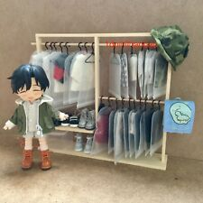 Wood Coat Clothes Hanger Rack Airer Kits GSC Molly OB11 1/12 Doll Accessory Sa