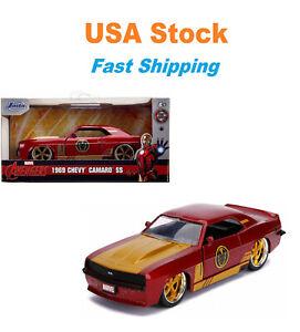 "Marvel Avengers 1969 Iron Man Chevrolet Camaro SS JADA Diecast Toy Car 5"" 1:32"