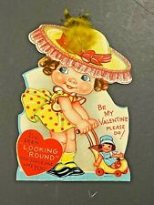 New ListingVintage 1940s-1950s Valentine's Day Card - Young Girl Pushing a Doll Stroller