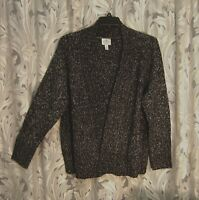 BLACK MARLED HEAVYWEIGHT OPEN FRONT CROCHET CARDIGAN SWEATER JACKET TOP~1X~NW