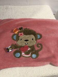 "Taggies Blue PinkMonkey Girl Baby Blanket 30 x 40"""