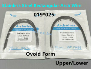 Dental Orthodontic Stainless Steel Ovoid Form Arch Wires 019*025 Rectangular U/L