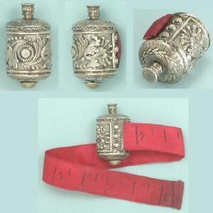 Petite Antique Sterling Silver Tape Measure & Silk Tape * English * Circa 1830