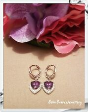 Stunning purple heart hoop zirconia 18k white gold plated earings *NEW*