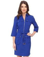 NWT $120 MICHAEL KORS Roll Sleeve Zip Front Shirt Dress Royal Blue XS S M L XL