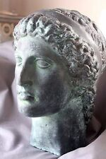 Real Plated Bronze Greek Apollo Statue Bust Roman Italian Classical Decor Stone