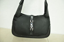 AUTHENTIC GUCCI Black Canvas & LEATHER TRIM Small Jackie O Hobo Handbag