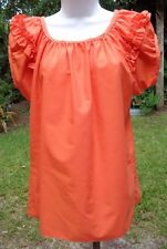Bright Orange Cute & Versatile SS Square Dance Blouse w/Adj Ruffled Neck S-M