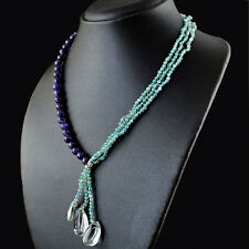 Amethyst & Apatite 203.50 Cts Natural 20 Inches Long Round Shape Beads Necklace