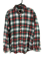 J Crew Cotton Flannel Mens XL Red Green Plaid Long Sleeve Heavy Button Up Euc