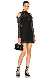 Self Portrait Black Long Sleeve Lace Guipure Cold Shoulder Mini Dress sz 8 Frill