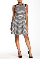 Trina Turk Sheila Dress Chevron Zig Zag Striped Fit and Flare Dress Size S Black