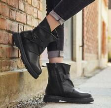 Retro Womens Leather Motorcycle Ankle Boots Punk Casual Buckle Zip Combat Shoes