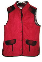 Tasha Polizzi Women's RIDING JACKET Red CHEETAH QUILTED FAUX SUEDE L Large