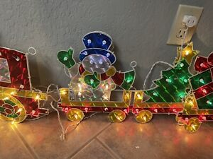 "60"" in  Holographic Train Christmas WORKS Light Up decoration vintage"