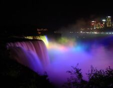 METAL FRIDGE MAGNET Niagara Falls Night Lights Purple Blue Yellow Travel Canada