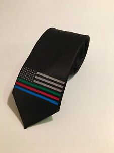 Military Police Fire American Flag Necktie,Black Tie, New