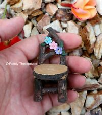 CHAIR WOODEN GARDEN FURNITURE ~Fairy Figurines Plants Doll House Miniature