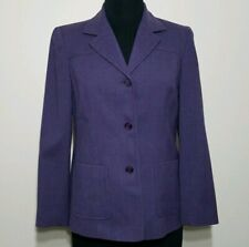 Talbots Pant Suit 6 Petite Purple Wool Lined Pleated Trousers V-Neck Blazer